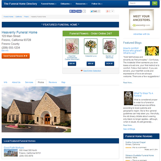 Featured Funeral Home Page