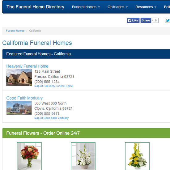 Featured Funeral Home Listing on State Page